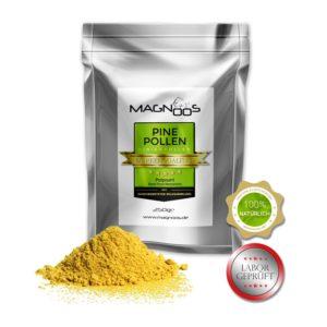 Nahrungsergänzung kaufen - MAGNOOS Pine Pollen | Pinienpollen | Kiefernpollen - 250g Pulver | ISO 9001-2008 Zertifiziert | Marken-Qualität | 100% Natürlich | Laborgeprüft | Roh & Unbehandelt aus natürlicher Wildsammlung | Handgeerntet | Zellwände schonend gebrochen | Aromaschutzbeutel verpackt | Reines Naturprodukt